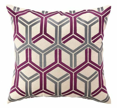 Interlock Embroidered Pillow - Fuschia