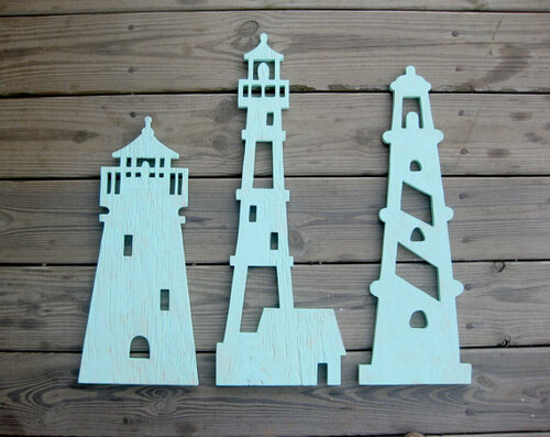 Lighthouse Trio Wood Art Beach Sign For Sale Cottage