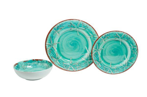 Melamine Raised Starfish Dinner Collection in Three Colors