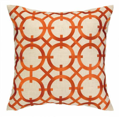 Parisian Lights Orange Embroidered Pillow