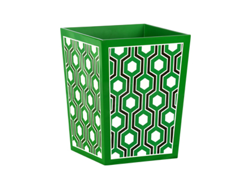 Sasoon Lacquered Waste Bin in Green