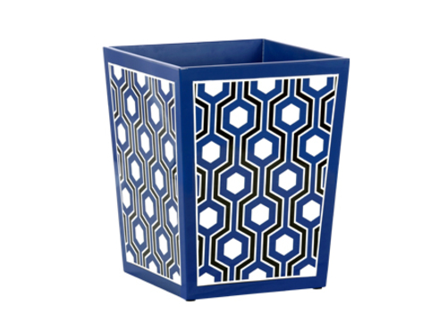 Sasoon Lacquered Waste Bin in Navy