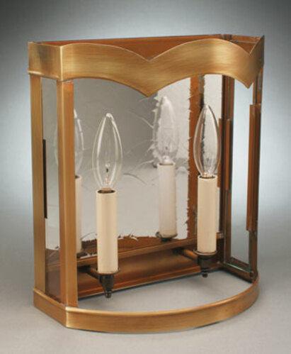 2-Lite Wall Sconce with Antique Mirror and Curved Glass