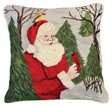 Santa with Birds Christmas Pillow
