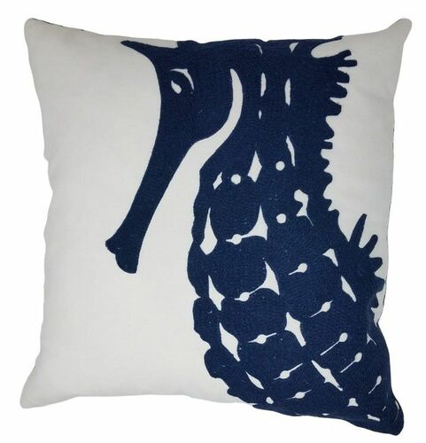 18x18 Embroidered Seahorse Pillow<font color=a8bb35> Sold out</font>