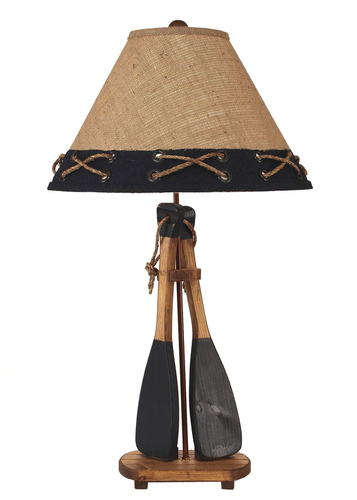 2 Boat Paddles with Rope Handles Table Lamp