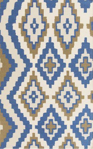 Alameda Sapphire Blue/Dark Brown/Beige Flat Pile Rug