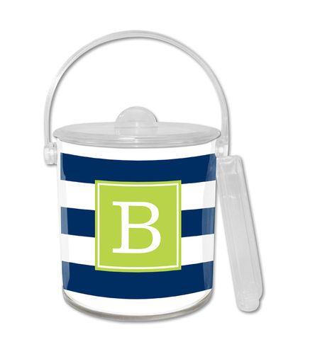 Awning Stripe Navy Ice Bucket