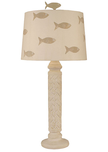 Basket Weave Table Lamp with Fish Shade