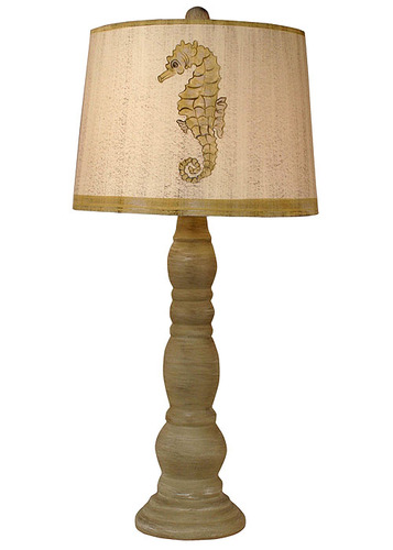 Cottage Shoreline Tan Ringed Candlestick Table Lamp w/ Seahorse Shade