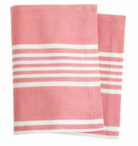 Bistro Stripe Coral Table Runner With Napkin Option