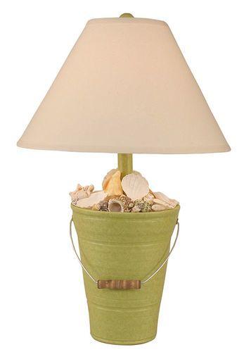 Bucket of Shells Lamp in Key Lime