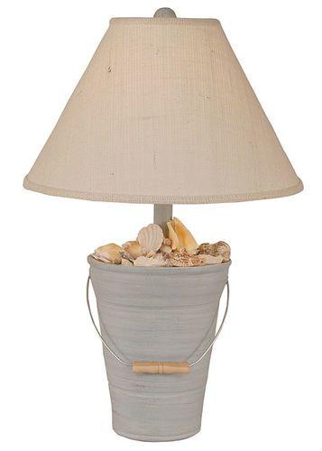 Bucket of Shells Lamp in Light Blue