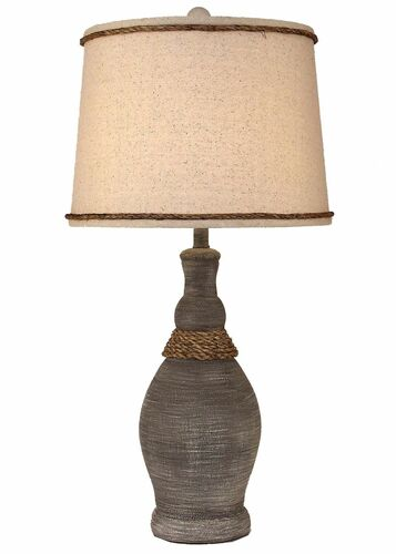 Driftwood Slender Neck Casual Table Lamps With Rope Accent