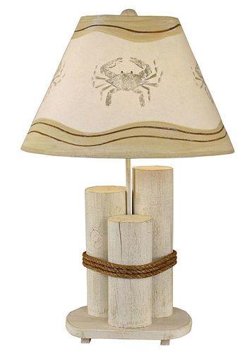Dock Pilings Lamp w/ Crab Shade