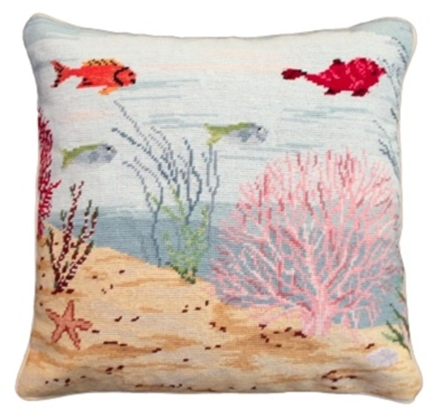 Coral Reef Needlepoint Right Pillow