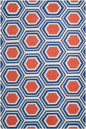 Fallon Dark Blue, Red & Beige Flat Pile Rug