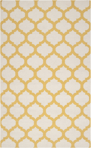 Frontier White/Golden Yellow Flat Pile Rug