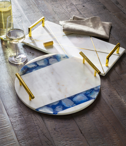Luxe Marble Decorative Tray with Gold Accents
