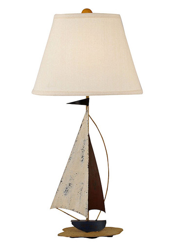 Distressed Nautical Iron Sailboat Table Lamp