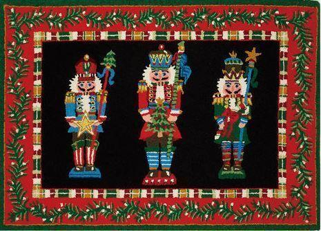 Nutcracker Hook Wool Red/Black Indoor Christmas Doormat
