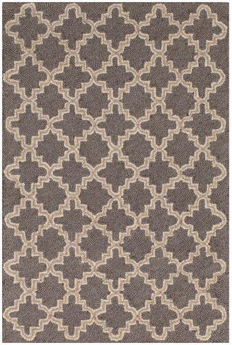 Plain Tin Charcoal Wool Mirco Hooked Rug