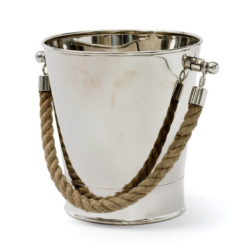 Polished Nickel and Brass Cruise Ice Bucket