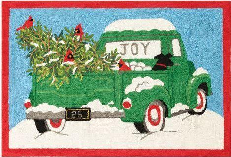 Retro Green Christmas Tree Truck Indoor Christmas Doormat