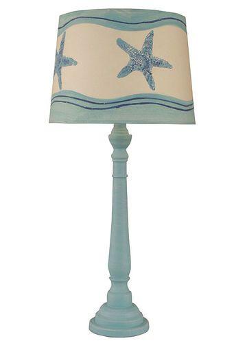Weathered Turquoise Sea Round Buffet Lamp w/ Starfish Shade