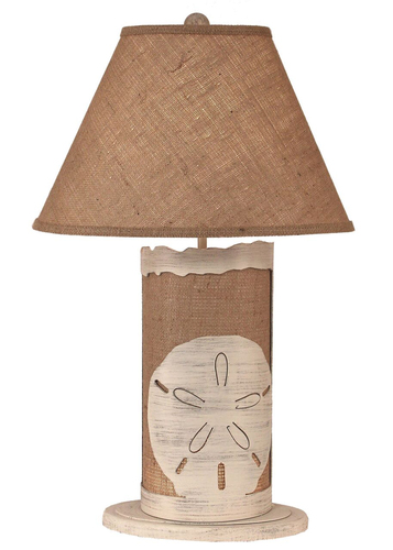Burlap Sand Dollar Lamp with Nightlight