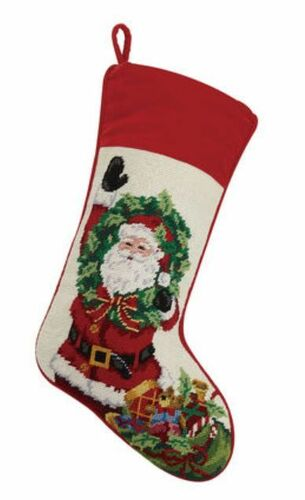 Santa with Wreath Velvet Cuff Christmas Stocking<font color =a8bb35> Sold out</font>