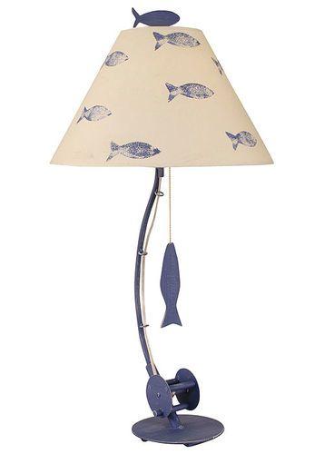 Sea Fishing Pole Table Lamp in Blue