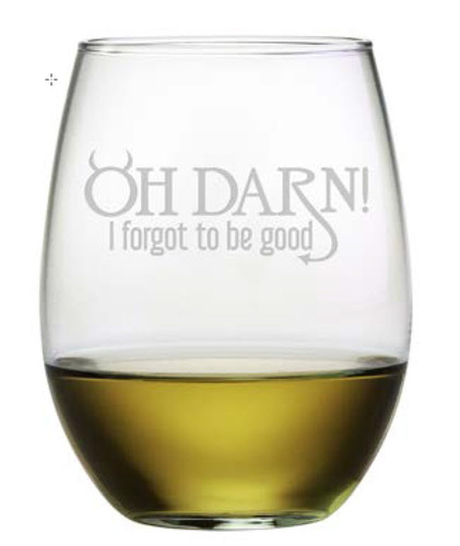 Set of 4 Stemless Wine Glasses - Oh Darn