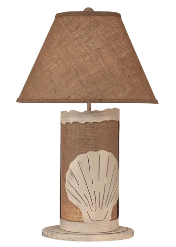 Burlap Shell Table Lamp w/ Night Light