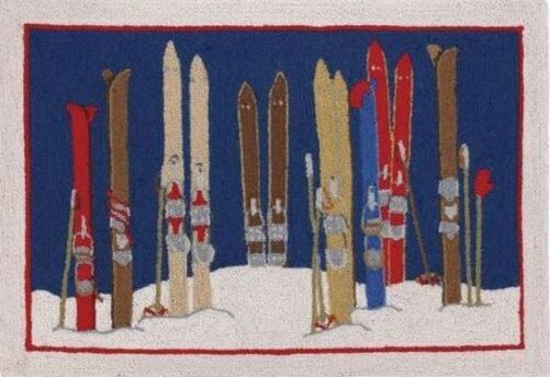 Skis and Poles Indoor Christmas Doormat