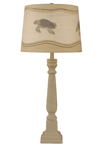 Cottage Shoreline Tan Square Buffet Lamp w/ Turtle Shade