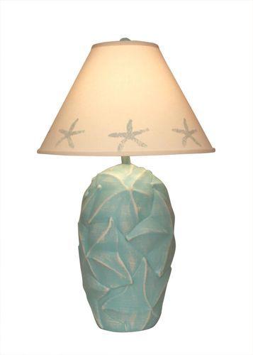 Turquoise Sea Star Fish Pot Lamp