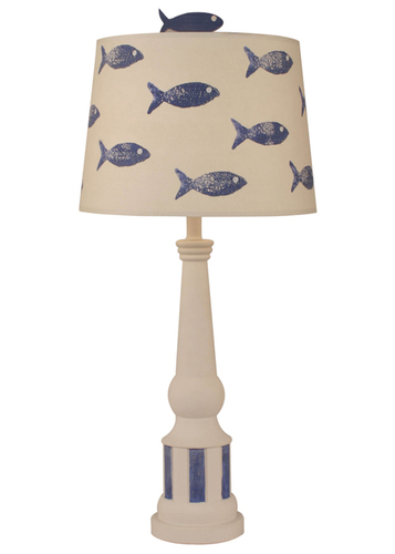 Striped Pedestal Accent Lamp with Fish Shade