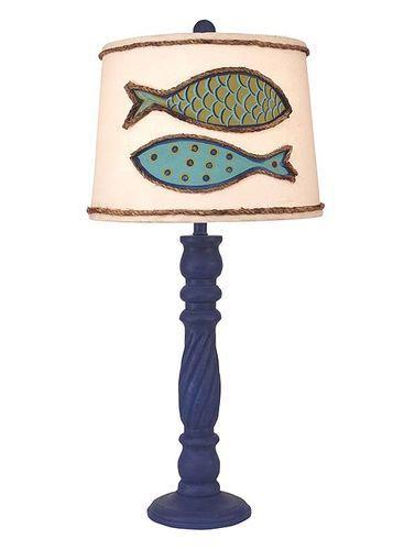 Swirl Stick Pot Lamp with Fish Shade
