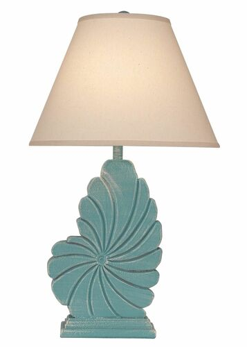 Tall Nautical Shell Table Lamp Weathered Turquoise Sea