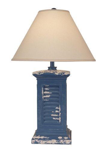 Tattered Blue China Square Shutter Table Lamp