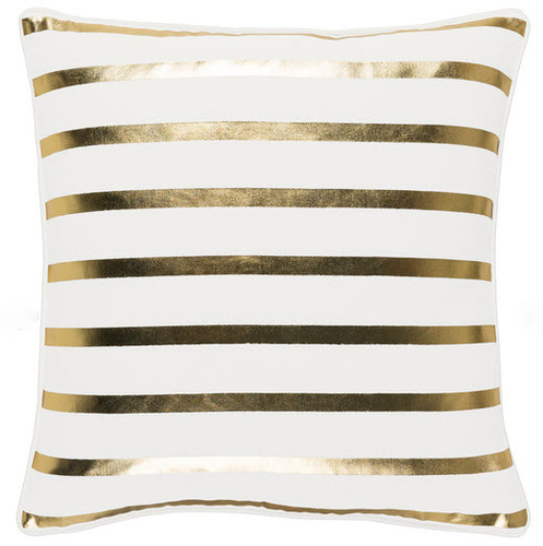 White & Gold Glam Stripe Pillow