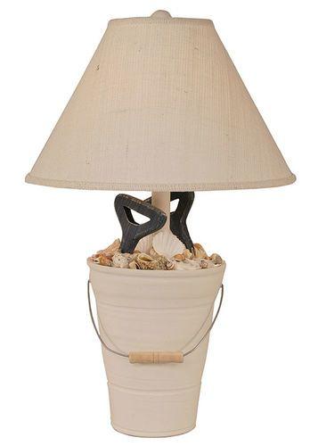 Bucket of Shells with Shovel Handles Lamp