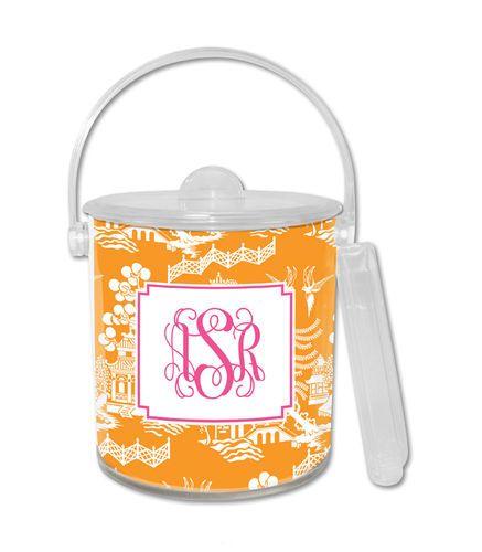 Chinoiserie Tangerine Ice Bucket