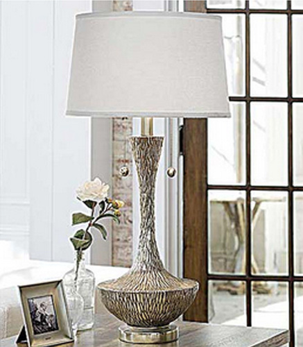 Embossed Silver Vessel Lamp