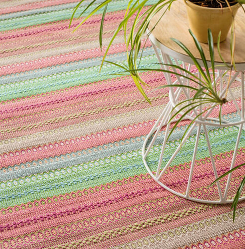 Gypsy Stripe Woven Cotton Rug in Pink/Green