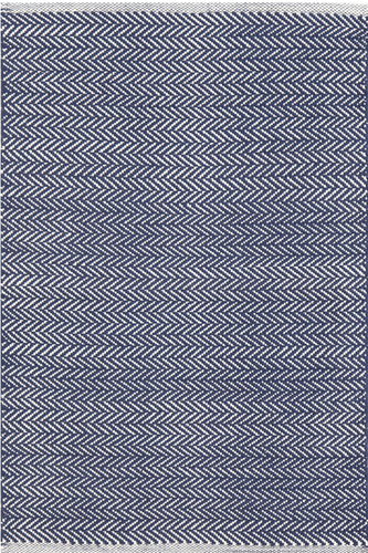 Herringbone Indigo Cotton Woven Rug