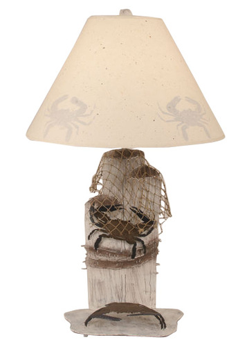 Iron Dock Pilings Lamp with Crab & Net