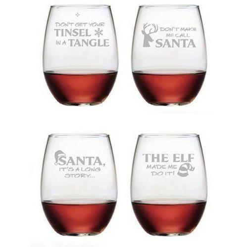 Stemless Wine Glasses Set of 4 - Holiday Hijinks