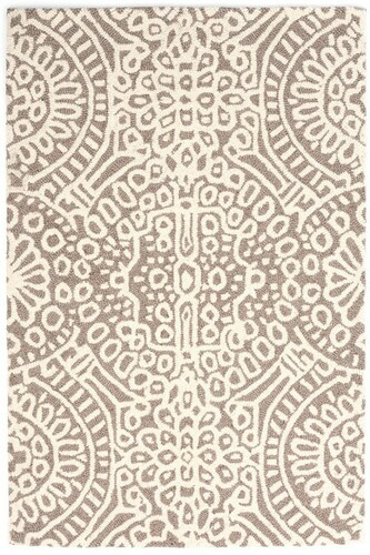 Dash And Albert Temple Taupe Wool Micro Hooked Rug For Sale